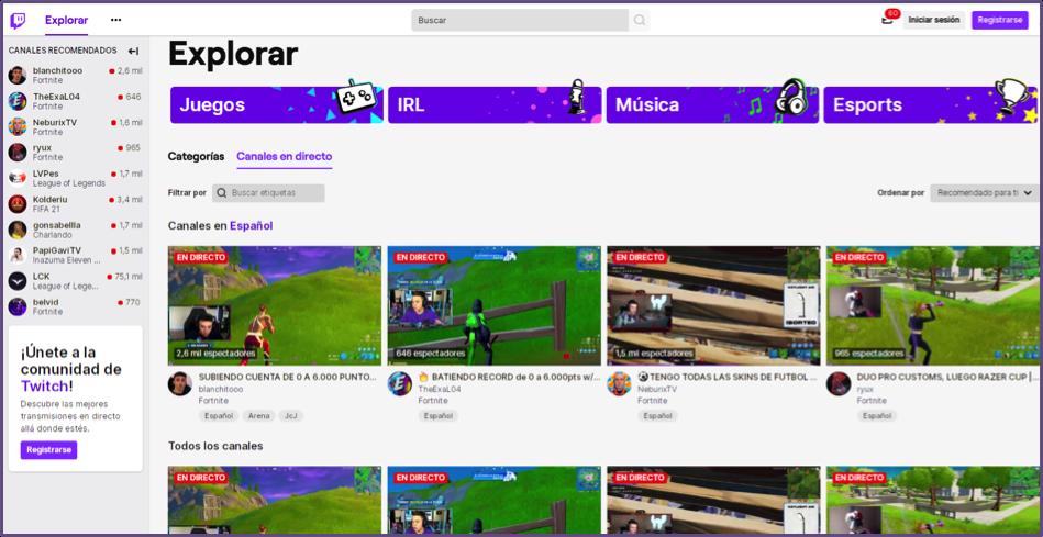Interfaz de Twitch - Plataforma de contenidos en vivo